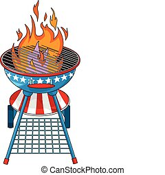 Red, White and BBQ - Patriotic  barbeque Grill