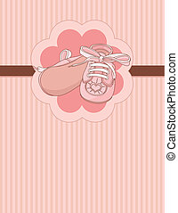 Pink baby shoes place card - Pink baby shoes invitation card...