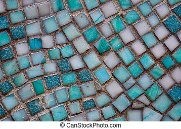 Mosaic - old blue and white mosaic tiles surface texture...