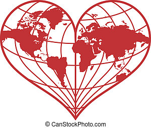 heart earth globe, vector - heart shaped red earth globe,...