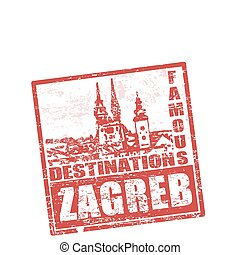 Zagreb stamp - Grunge rubber stamp with cathedral and the...