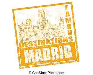 Madrid stamp - Grunge rubber stamp with royal palace and the...