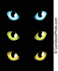 cat eyes in different colours