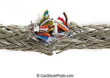 Bundle of color cables - Broken wires isolated on white...