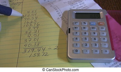 Home finances. - Checking dollar amounts on a list....