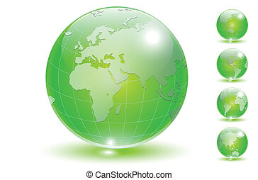 Earth globe set vector. - Earth globe, transparent crystal...