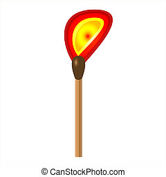 Burning match stick on a white background