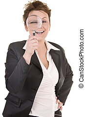 Businesswoman Looking Into A Magnifying Glass - Attractive...