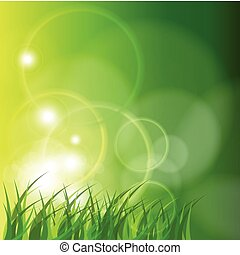 Abstract green background, sunny spring vector illustration