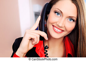 operator - Beautiful business woman is working at the...