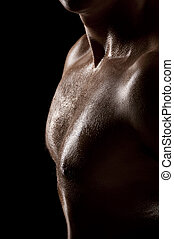 Male torso - Athletic male torso in dark key Focus on the...