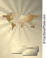 Business background with world map, gold metallic, vector...
