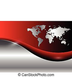 Business background with world map, red and silver, vector...