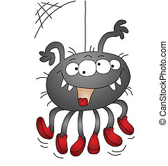 Halloween cartoon spider isolated on white background