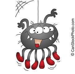 dia das bruxas, caricatura, aranha