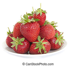 Strawberries in a dish isolated on white