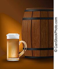 beer barrel - vector realistic illustration of beer mug and...