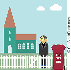 Sin bin at the church waiting for collection