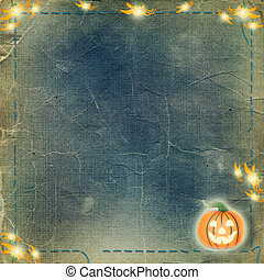 Frame for photo with pumpkin and flowers on the nightly...