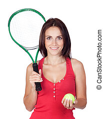 Beautiful brunette girl with tennis racket isolated on a...