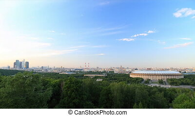 Panorama of Moscow city timelapse d - View to Luzhniki...