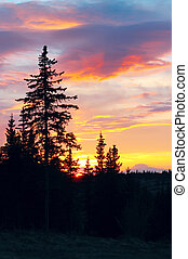 Alaskan sunset - Dramatic colorful sunset with silhouetted...
