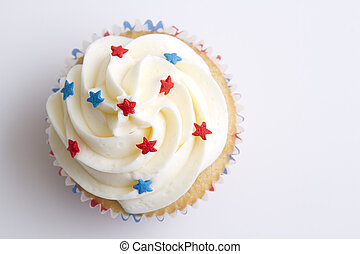Patriotic cupcake - 4th of july cupcake decorated with red...