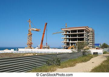 Construction on the beach.