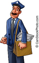 postman - adult postman with a big mustache going to work