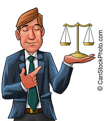 the lawyer - lawyer with his eyes closed holding a scale