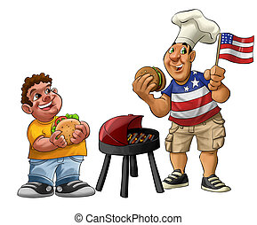 American barbecue - fat guy eating a hamburger with usa...