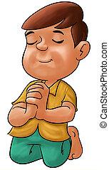 Boy praying - little boy praying his eyes are closed