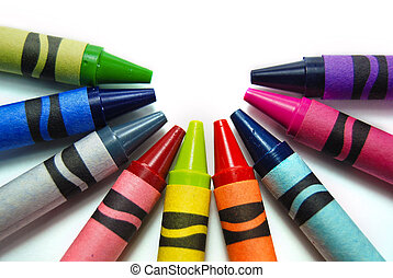 Colorful Crayons - Colorful new crayons on white.