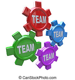 Teamwork - Four Gears Turning Together as Team - Four gears...