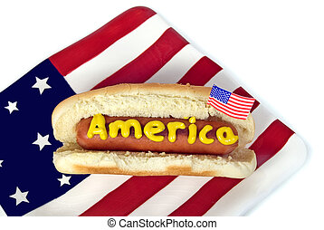 patriotic hot dog - Mustard on hot dog with flag.