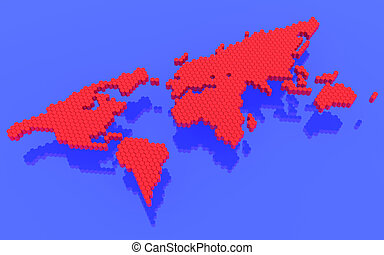 The red polygons map