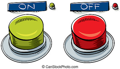 On and Off Buttons - A pair of cartoon on and off buttons.