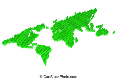 The green polygons map