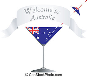 national symbolics Australia - Vector glass with national...