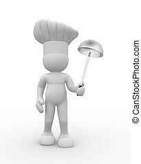 cook with a ladle in hand - Cook with a ladle in hand - This...