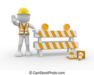 Under construction - 3d people icon and under construction -...