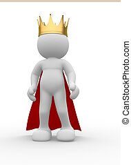 Royal crown - 3d people icon with royal crown - This is a 3d...