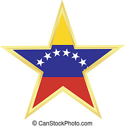 flag of Venezuela - Gold star with a flag of Venezuela