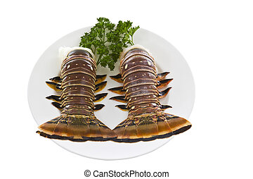 Brazilian Lobster Tails - Fresh Brazilian tails, parsley on...