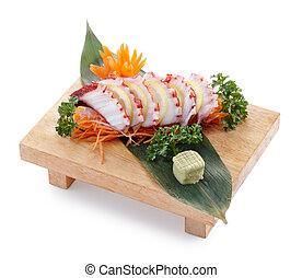 tako sashimi - delicious tako sashimi isolated on white...