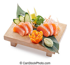 sake sashimi - delicious sake salmon sahimi isolated on...
