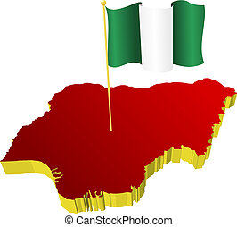 Nigeria with the national flag