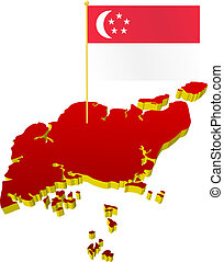 map of Singapore with flag