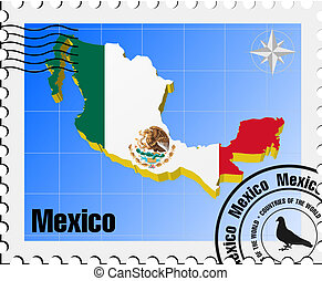 vector stamp of Mexico