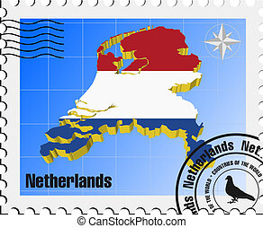 vector stamp of Netherlands